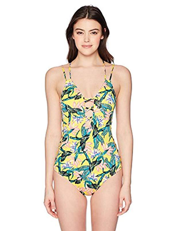 f9881217a9de7 Lyst - Jessica Simpson Side Strap Plunge One-piece Swimsuit in Green