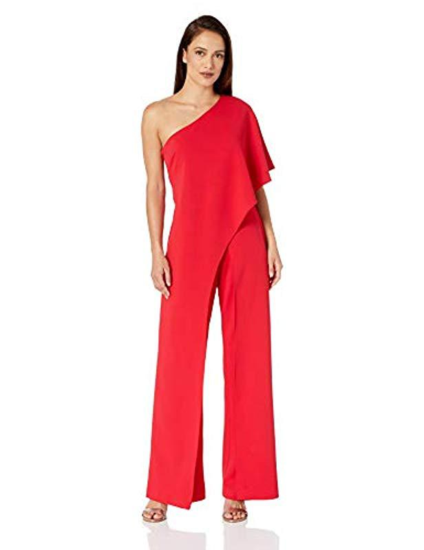 4fefa8515ea Lyst - Adrianna Papell Plus Size Draped One-shoulder Jumpsuit in Red ...