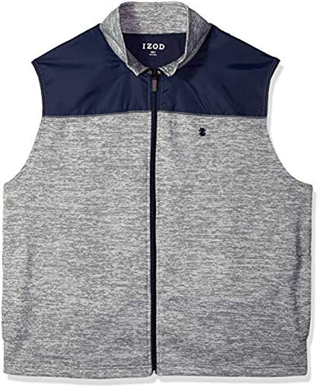Lyst Izod Big And Tall Essential Full Zip Sweater Vest In Gray For Men