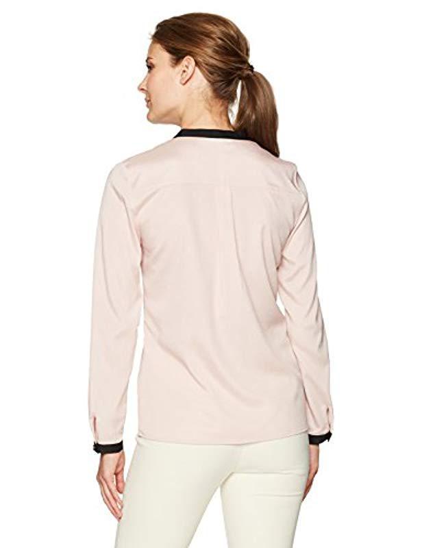 3d436bd9af9 Lyst - Ivanka Trump Georgette Long Sleeve Ruffle Blouse
