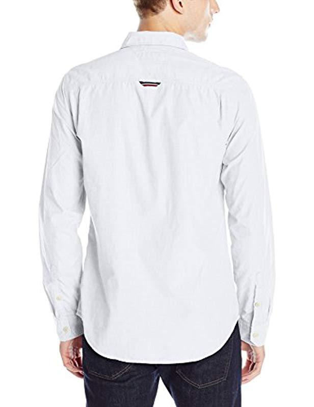 Lyst - Tommy Hilfiger Original End Long Sleeve Button Down Shirt in White  for Men 43d6b7018f1c