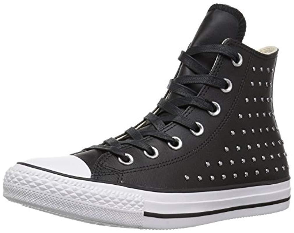 e4b763c0f33 Lyst - Converse Ctas Hi Black silver Sneaker in Black - Save ...