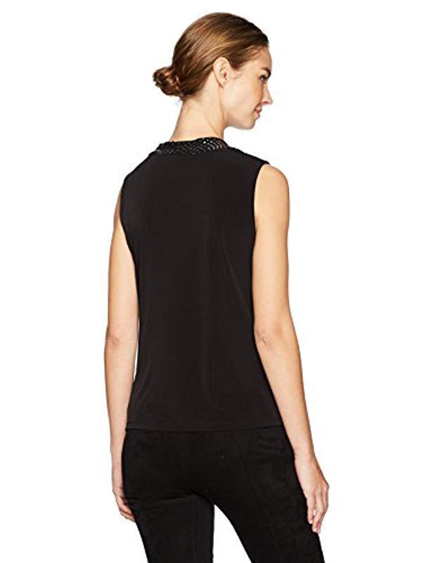 03c09456f5a Lyst - Nine West Cap Sleeve U Neck Embellished Ity Top in Black