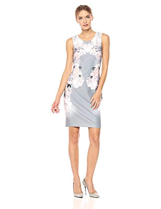 f2f7e508 Lyst - Calvin Klein Printed Sheath Dress in White - Save 19%