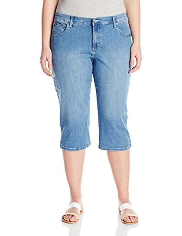 39e99f8ffd3 Womens Blue Plus-size Relaxed-fit Denim Capri  so cheap 67766 a8c43 Karen  Scott ...