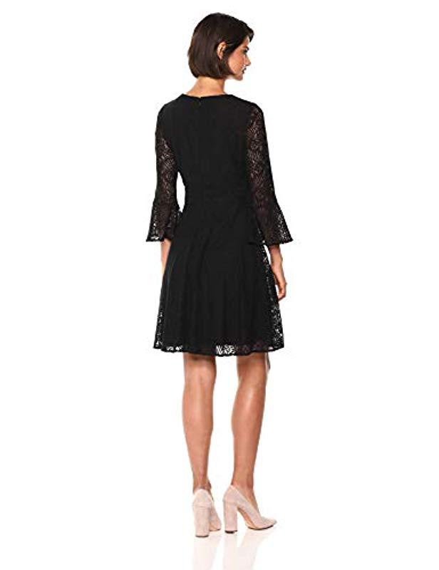 e5b63497636b Lyst - Nine West Lace 3 4 Bell Sleeve V-neck Fit   Flare Dress in Black