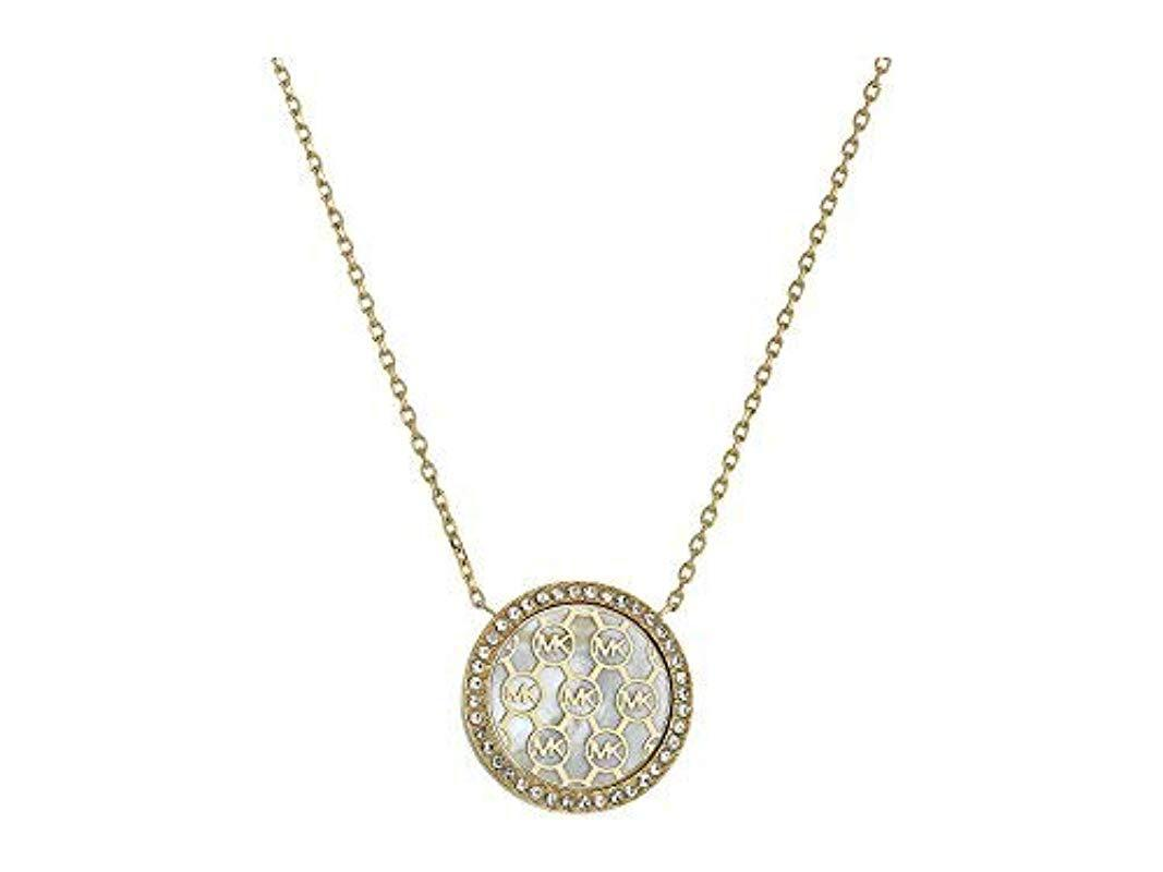 ab53d778b188d Lyst - Michael Kors Logo Pendant Necklace in Metallic
