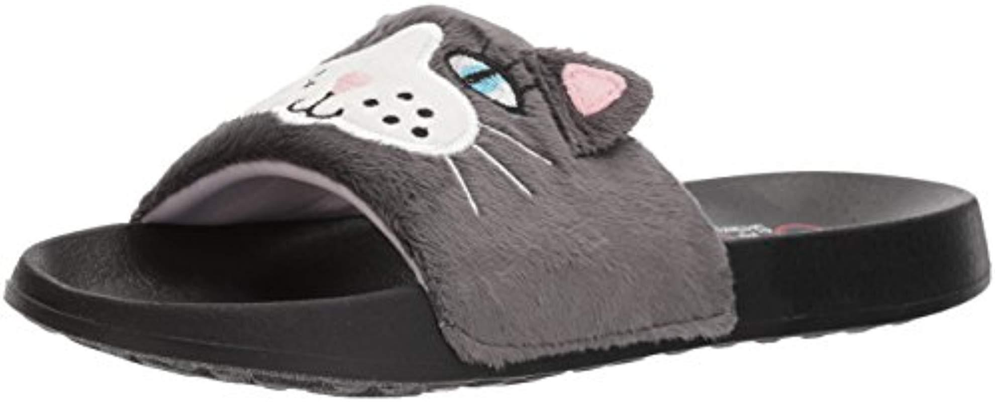 8e51f70bffc8 Lyst - Skechers Bobs 2nd Take-plush Animal Slide Sandal in Gray ...
