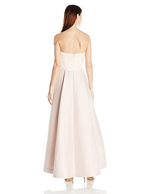6c146d26928a Lyst - Halston Strapless Jumpsuit Structured Skirt Overlay - Save 37%