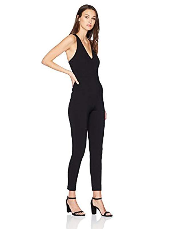 06d6ee7afb1a Lyst - Guess Sleeveless Leno Strappy Jumpsuit in Black - Save 33%