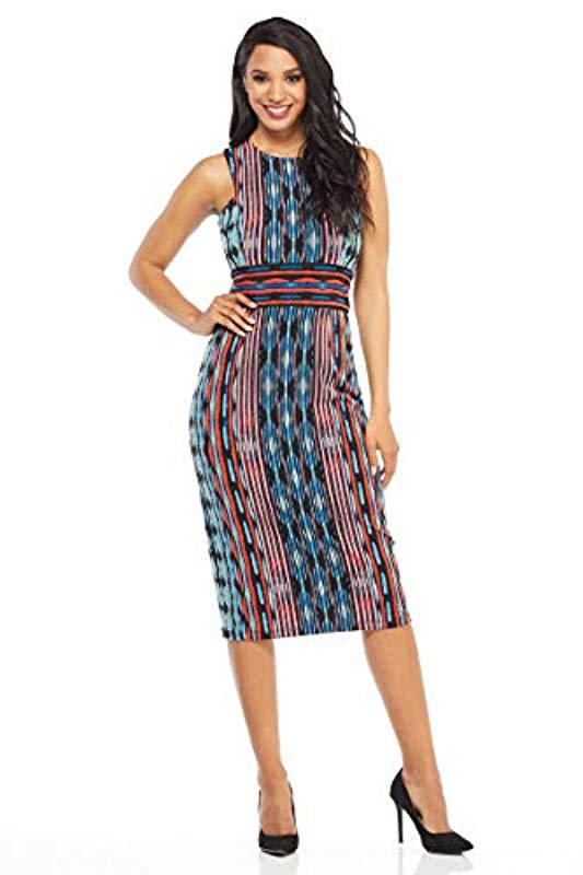 fdffe3312f5d33 Lyst - Maggy London Painted Ikat Sleeveless Jersey Sheath in Blue ...