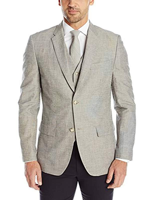54e8a63759 Lyst - Perry Ellis Slim Fit Linen Cotton End-on-end Suit Jacket in ...
