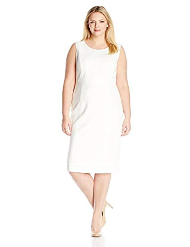 61610150675 Lyst - Kasper Plus Size Stretch Crepe Sheath Dress in White - Save ...