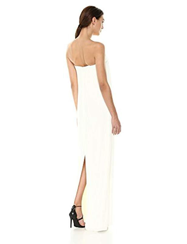 3cc2f4d11a21 Lyst - Halston Strapless Front Tie Detail Gown in White