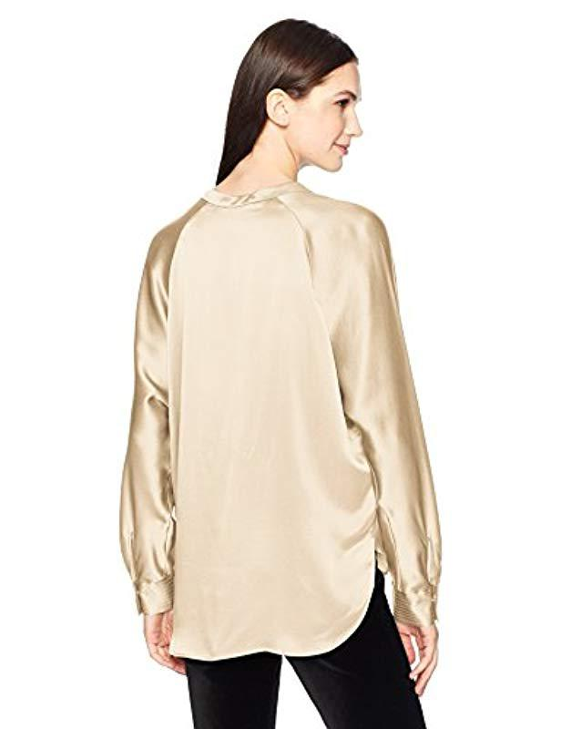 264ac7c4dc7aef Lyst - Vince Collar Band Blouse in Natural - Save 21%