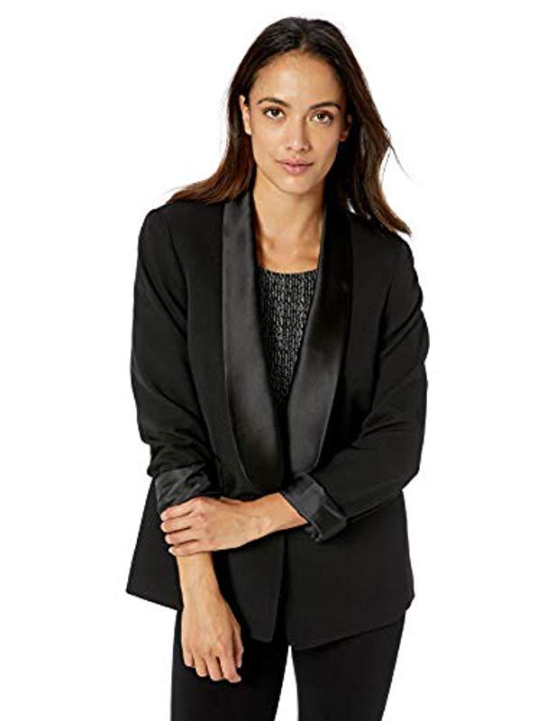 0635aac769d94 Kasper. Women s 1 Button Shawl Collar Crepe Black Satin Tuxedo Jacket.  129  From Amazon Prime