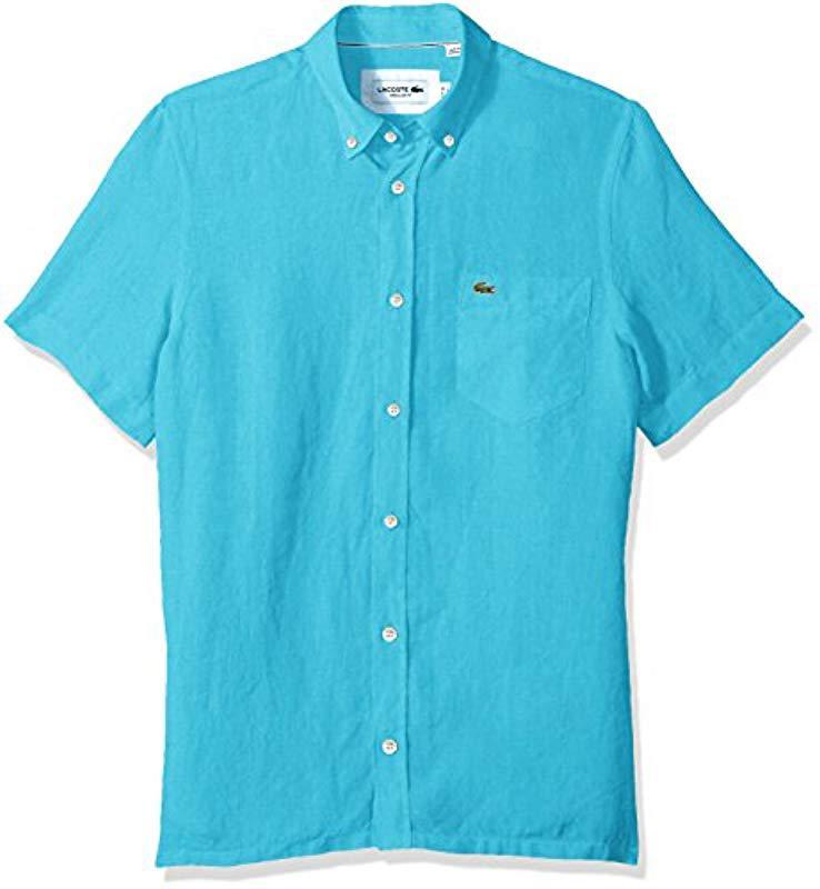 789085e26 Lacoste Short Sleeve Solid Linen Button Down Collar Reg Fit Woven ...