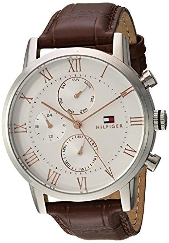 31bf4d56 Tommy Hilfiger. Men's Sophisticated Sport Stainless Steel Quartz Watch With  Leather Strap ...