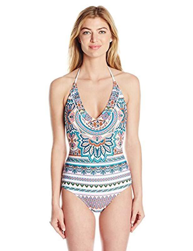 37862dffbc0c1 Lyst - Jessica Simpson Versailles Lace Back Maillot One-piece ...