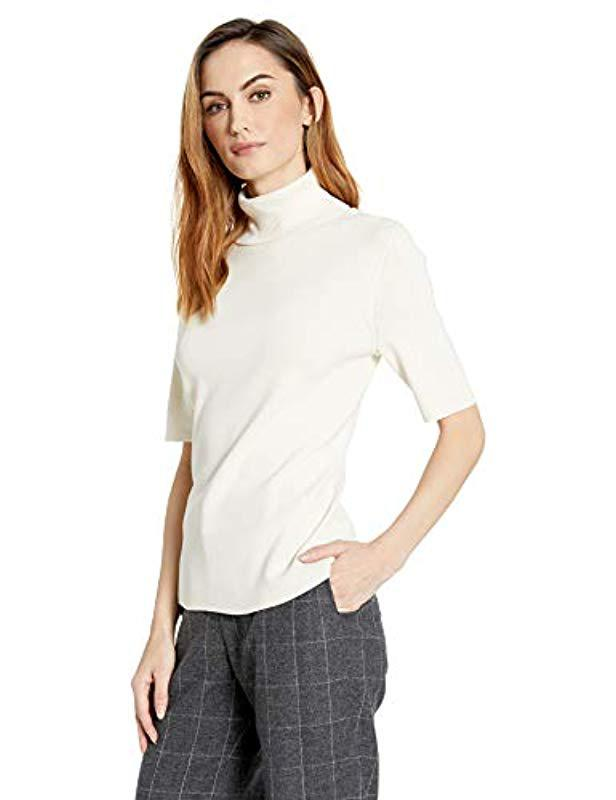 ff908fee0d1be Lyst - Anne Klein Half Sleeve Turtleneck Sweater in White - Save 66%