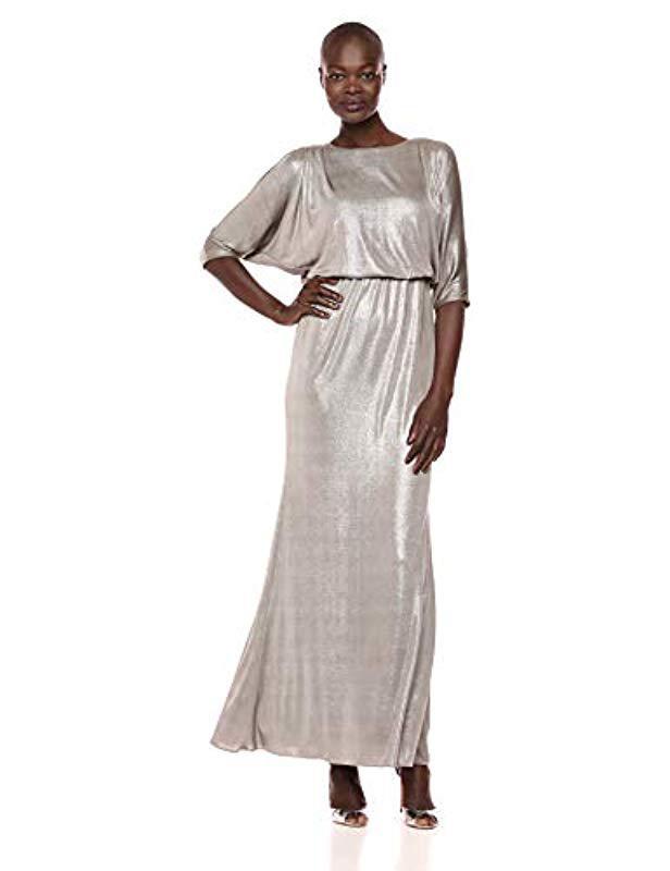 0e5191af01237 Adrianna Papell. Women s Metallic Long Sleeve Blouson Foiled Jersey Dress