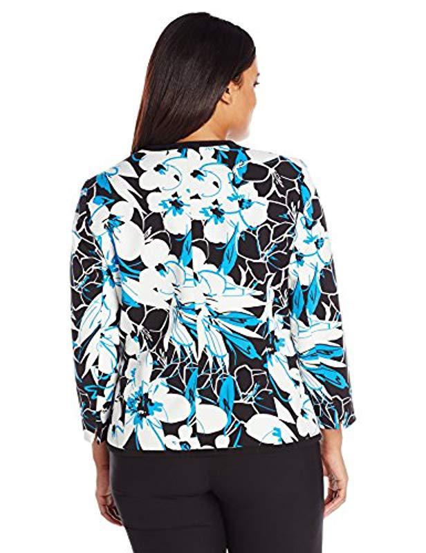 f77dbd313c4 Lyst - Kasper Plus Size Floral Print Crepe Framed Cardigan Jacket in Blue