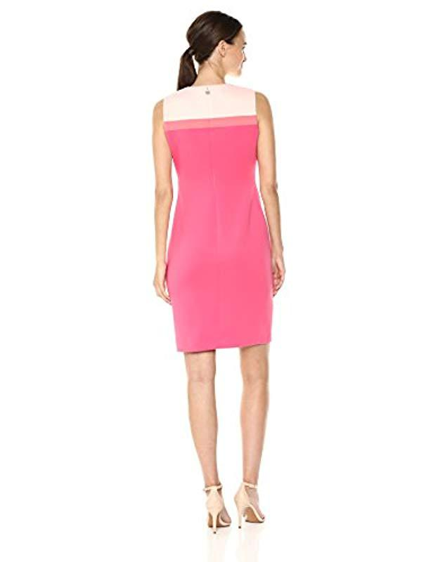 4156042a6d2a4 Lyst - Tommy Hilfiger Colorblock Assymetrical Heavy Weight Scuba Dress in  Pink - Save 1%