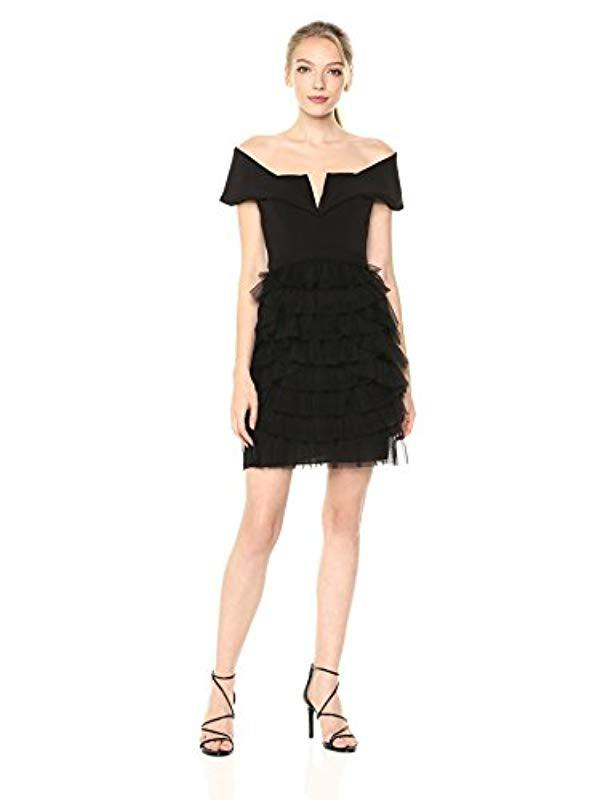 d463e8faf331 Lyst - BCBGMAXAZRIA Marquise Off-the-shoulder Dress in Black - Save 29%