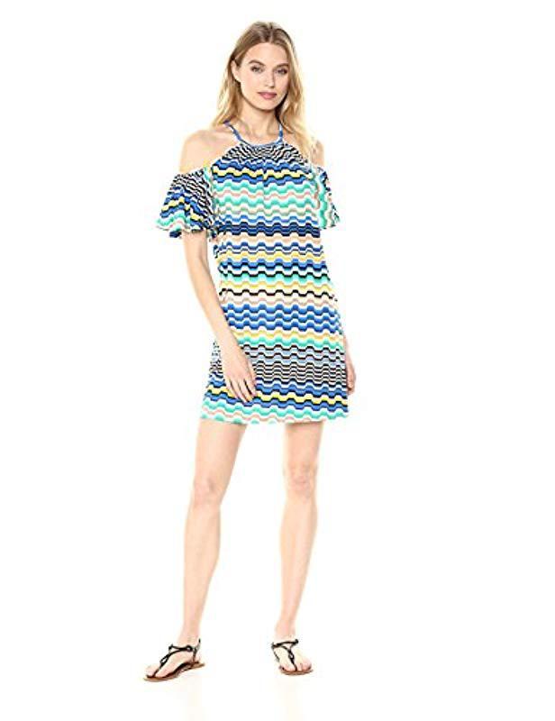 3f6a805da3f88 Lyst - Trina Turk Trina Viola Cold Shoulder Dress in Blue