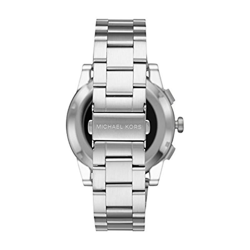 0756f1cc1879 Michael Kors - Metallic Silvertone Grayson Smartwatch for Men - Lyst. View  fullscreen