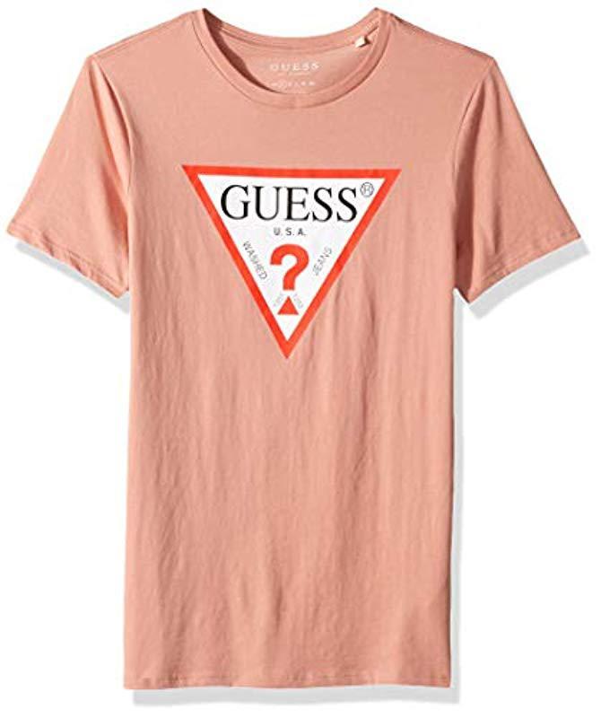 Guess Pink Short Sleeve Triangle Logo T Shirt For Men Lyst View Fullscreen