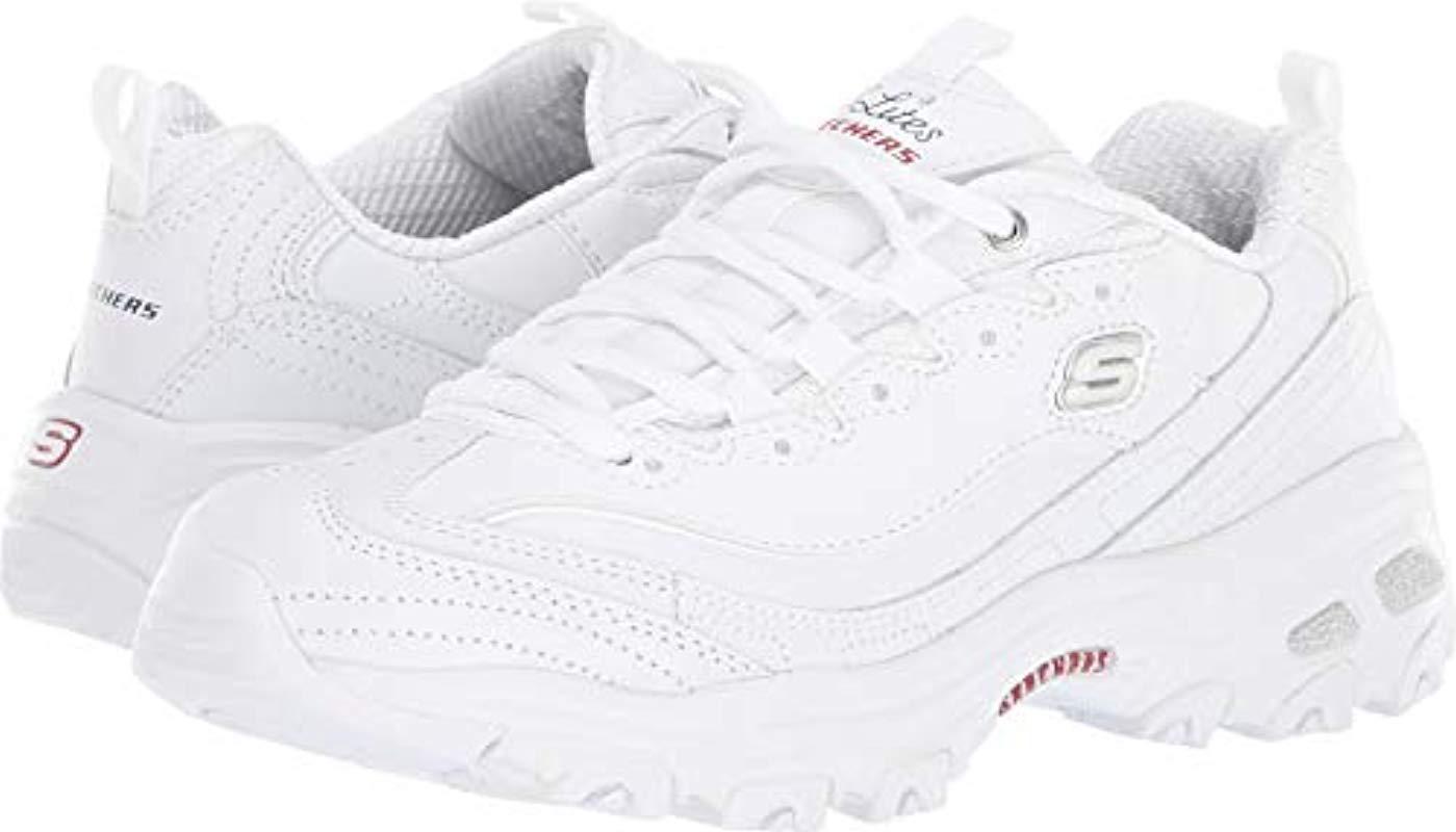 9e6978e59cd0 Lyst - Skechers D lites Memory Foam Lace-up Sneaker in White