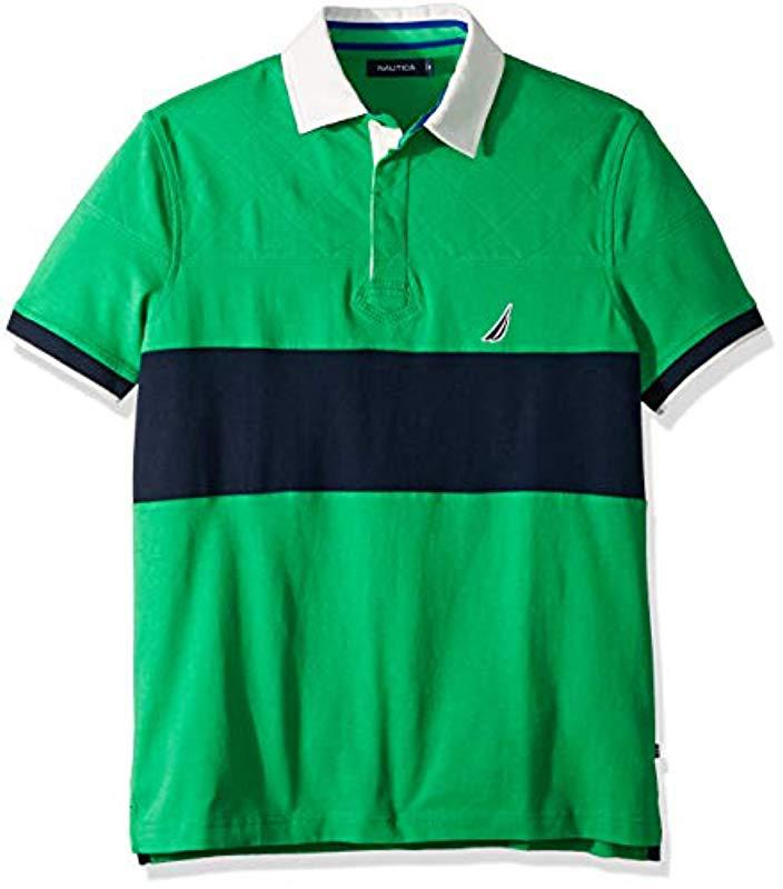 d6f6c82aab7 Nautica Short Sleeve Colorblock Classic Fit Polo Shirt in Green for ...