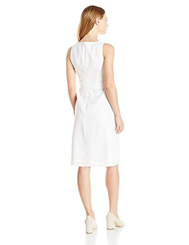 186bc8d225 Lyst - Ellen Tracy Petite Size Linen Belted Column Dress in White