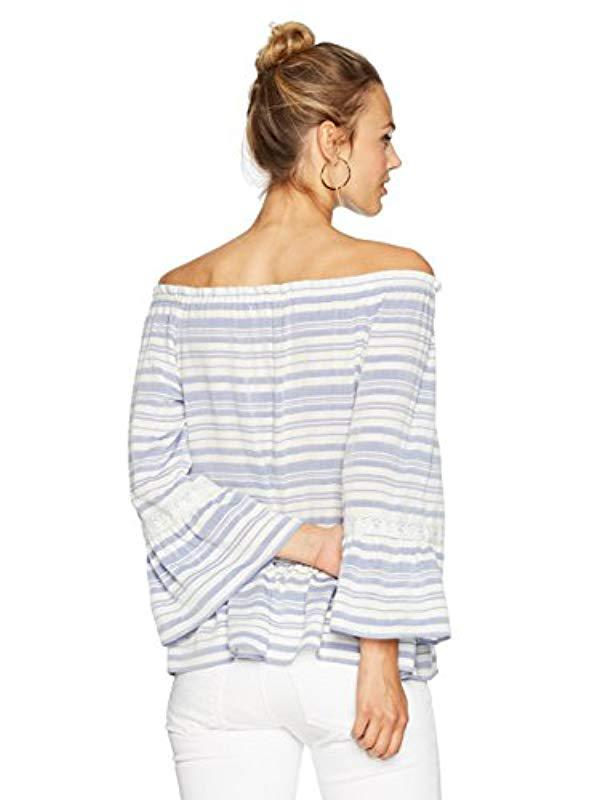 c87f3bf33d5bd5 Ella Moon - Blue Jayde Long Bell Sleeve On And Off Shoulder Lace Trim Top  -. View fullscreen