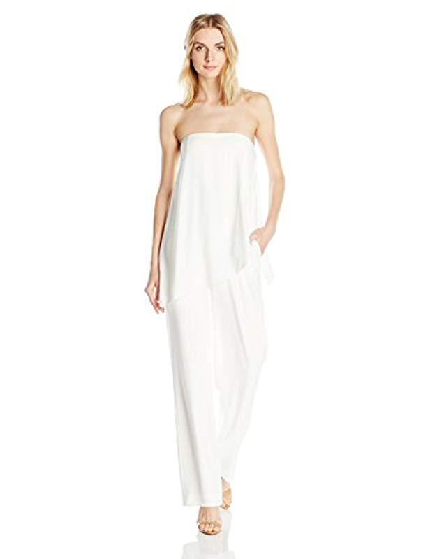 6136be2c0d88 Lyst - Halston Strapless Asymmetrical Overlay Jumpsuit in White ...