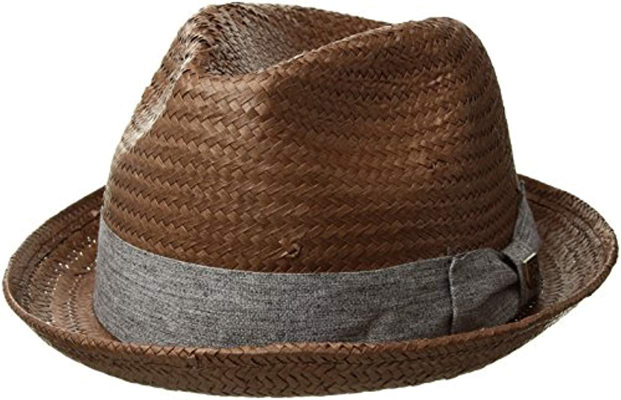 bf6252fe14420 Lyst - Brixton Castor Straw Fedora Hat in Brown for Men - Save 22%