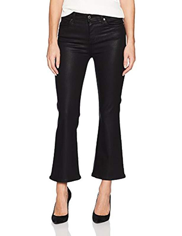 eaad9685c2821 Lyst - 7 For All Mankind Cropped Ali Flared Leg Jean In Black Coated ...