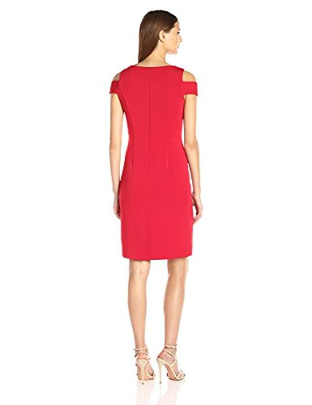 0fda3772216 Lyst - Vince Camuto Cold Shoulder Sheath Dress in Red