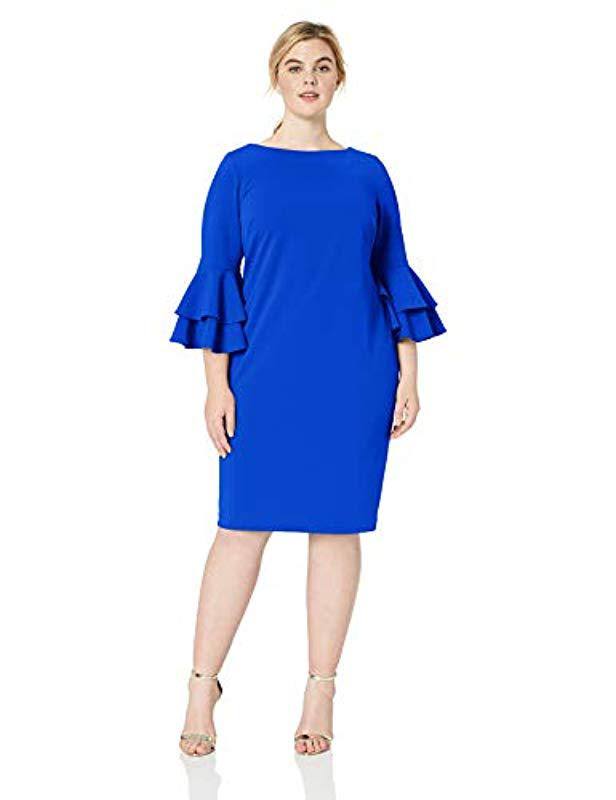 2fa0da15cc7 Lyst - Calvin Klein Plus Size Tiered Bell Sleeve Dress in Blue