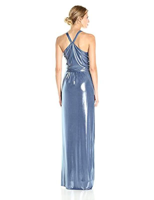 ec36fd80d40 Lyst - Halston Sleeveless High Neck Metallic Jersey Gown With Sash in Blue  - Save 37%