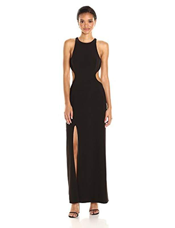 766ae8dc75eb Halston. Women's Black Sleeveless Round Neck Color Blocked Gown Back Cut Out