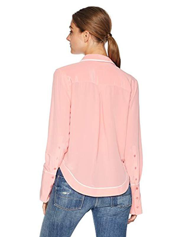 1a59c1f9c91b18 Lyst - Equipment Sandwashed Crepe De Chine Silk Huntley Blouse in Pink -  Save 41%