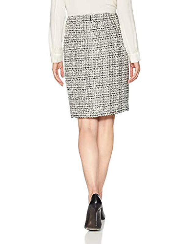 8e45ec1d20 Lyst - Calvin Klein Graphic Tweed Pencil Skirt in Black