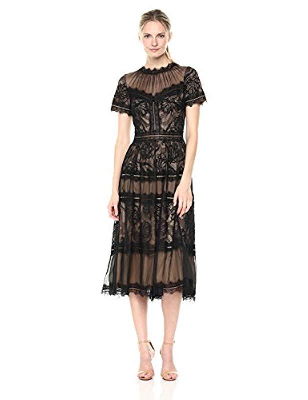 ea12a003b05 Lyst - Tadashi Shoji Short Sleeve Lace Dress in Black