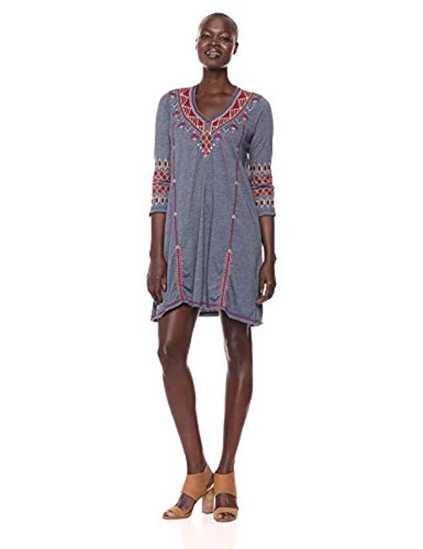 c2c7596c742 Lyst - Johnny Was 3 4 Sleeve Drape Tunic Dress in Blue - Save 51%