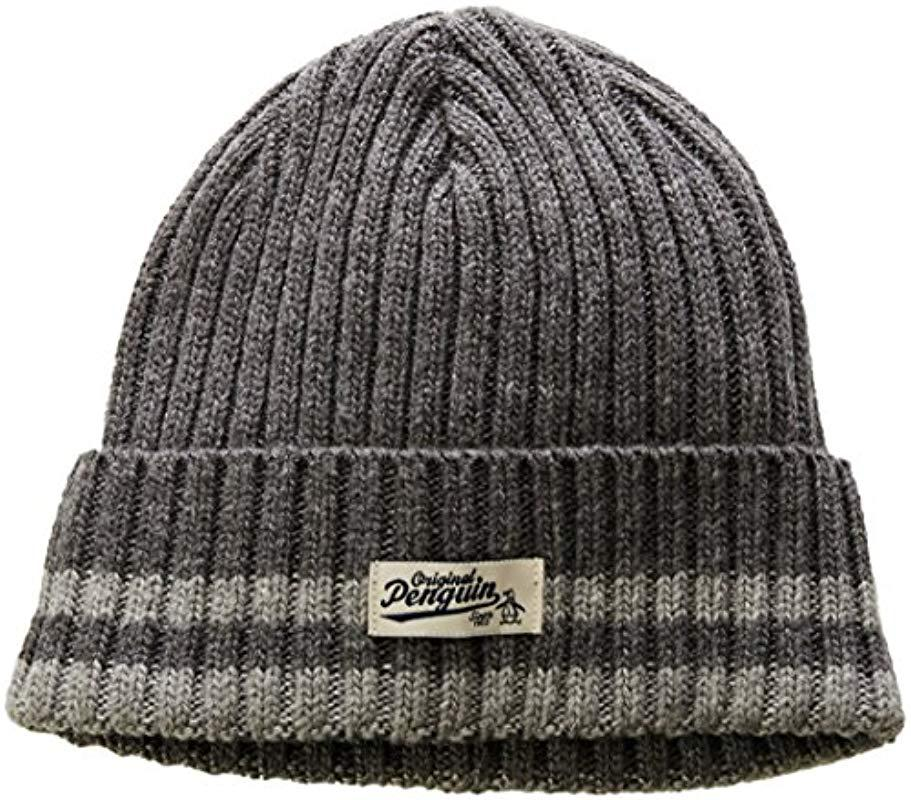 e973c039172e5 Lyst - Original Penguin Chunky Knit Watchcap in Gray for Men - Save 3%