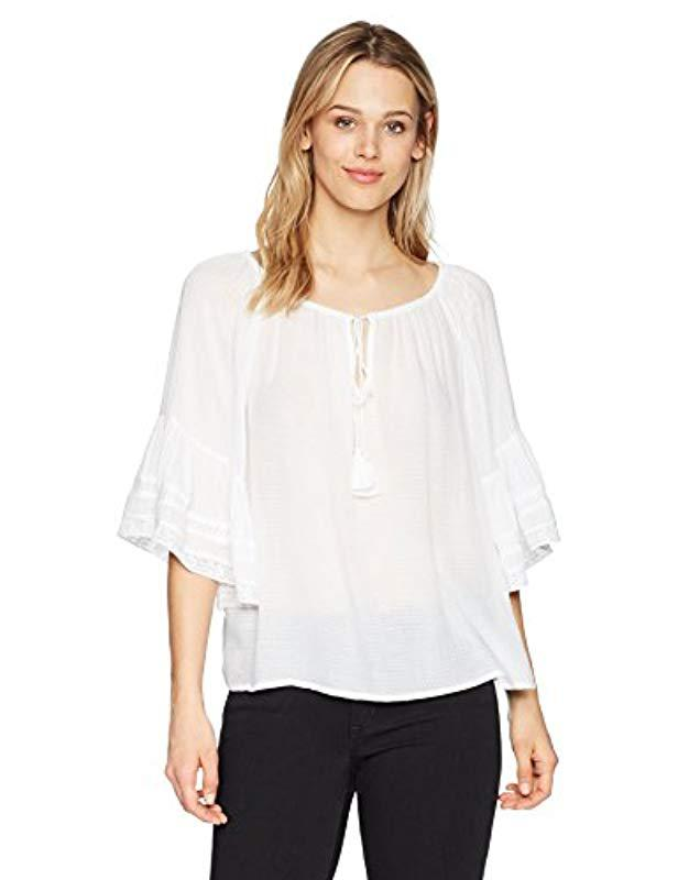 8531cb3edc218 Lyst - Lucky Brand Bell Sleeve Peasant Top in White - Save 30%