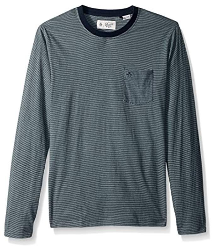 49d2435d Lyst - Original Penguin Long Sleeve Striped Feeder Tee in Blue for ...