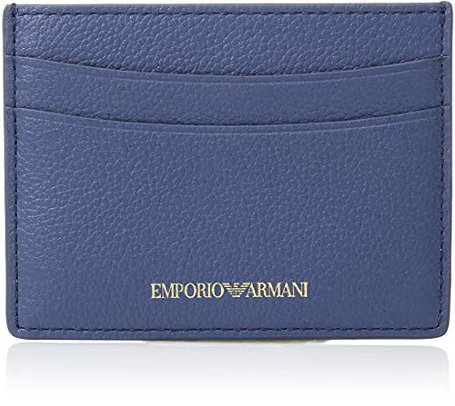 Lyst - Emporio Armani Designer Leather Cardholder in Blue 19b6e2e5f9